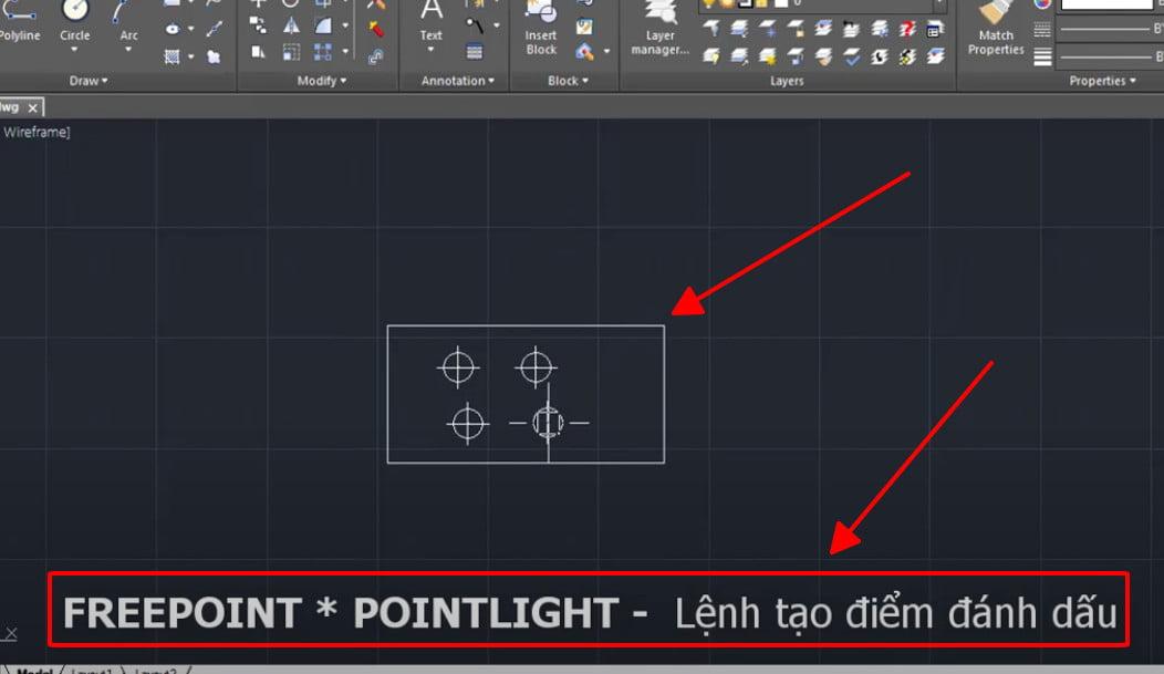 Lệnh tạo điểm đánh dấu - POINTLIGHT