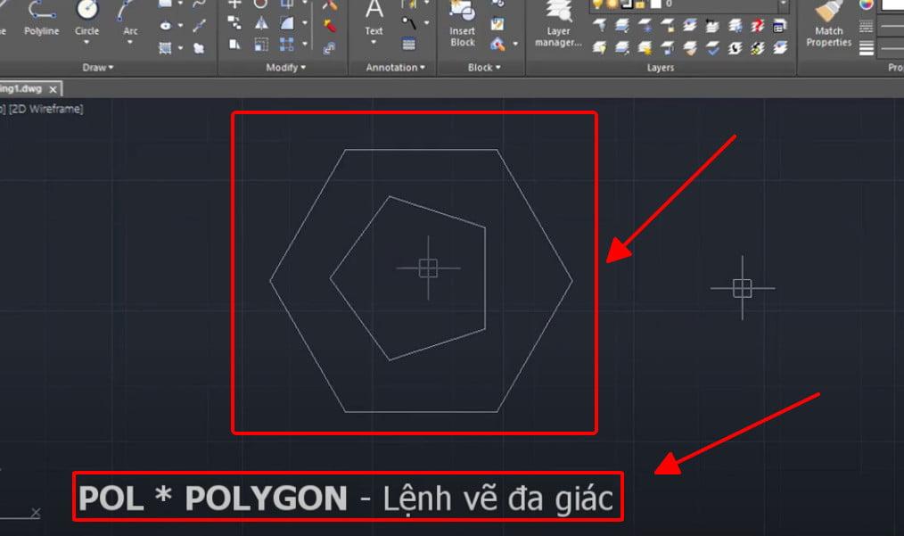 Lệnh Polygon - lệnh vẽ đa giác trong cad