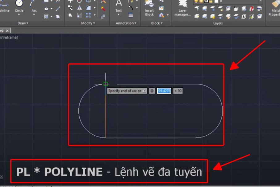 Lệnh Polyline - lệnh vẽ đa tuyến trong cad
