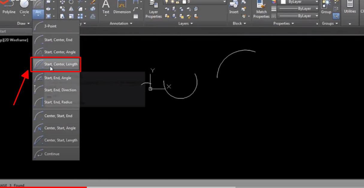 Phương thức vẽ cung tròn qua điểm đầu, tâm và chiều dài