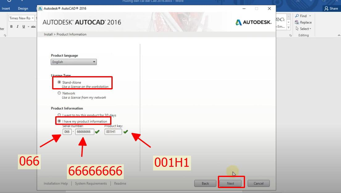 Nhập autocad 2016 product key