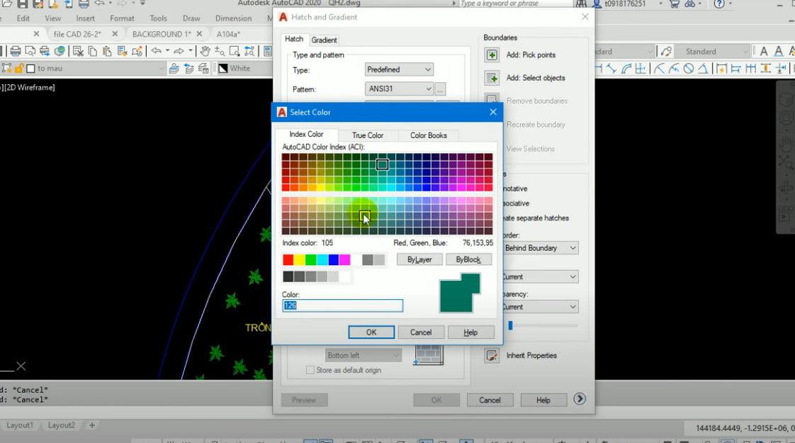 Lựa chọn màu sắc để tô vật liệu