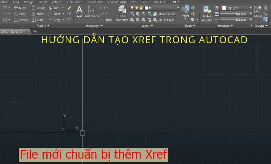 File mới chuẩn bị thêm Xref trong cad