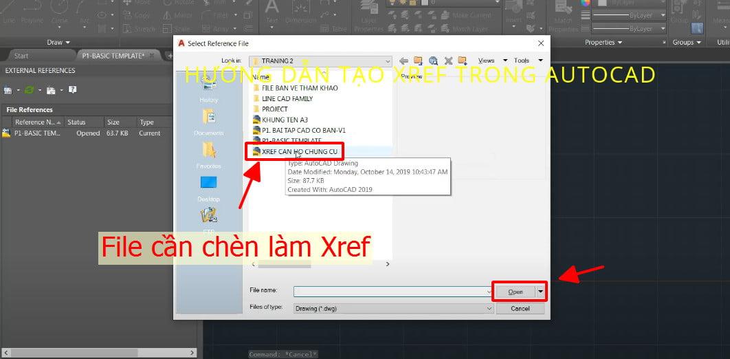 Lựa chọn File cần chèn làm Xref