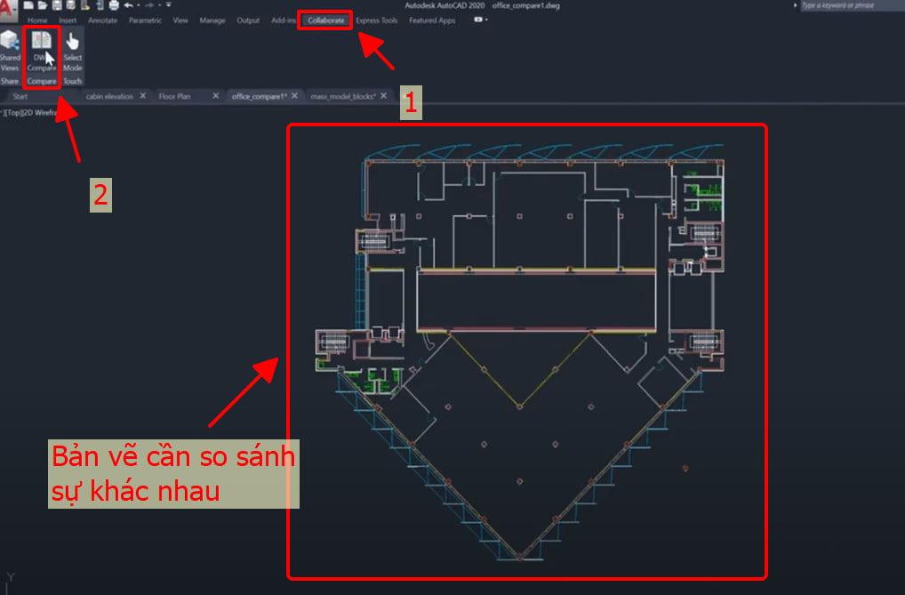 So sánh giữa hai bản vẽ chức năng Enhanced DWG compare