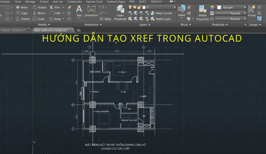 Tạo Xref trong cad