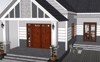 Thiết kế nhà chữ L 80m2 1 tầng đẹp, mẫu nhà có chi phí xây dựng giá rẻ