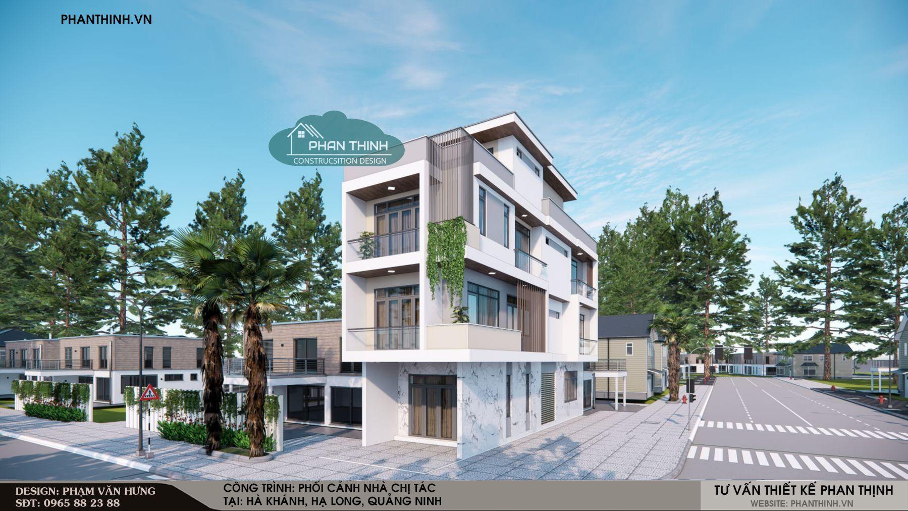 Phối cảnh mẫu thiết kế nhà phố 2 mặt tiền ở Quảng Ninh