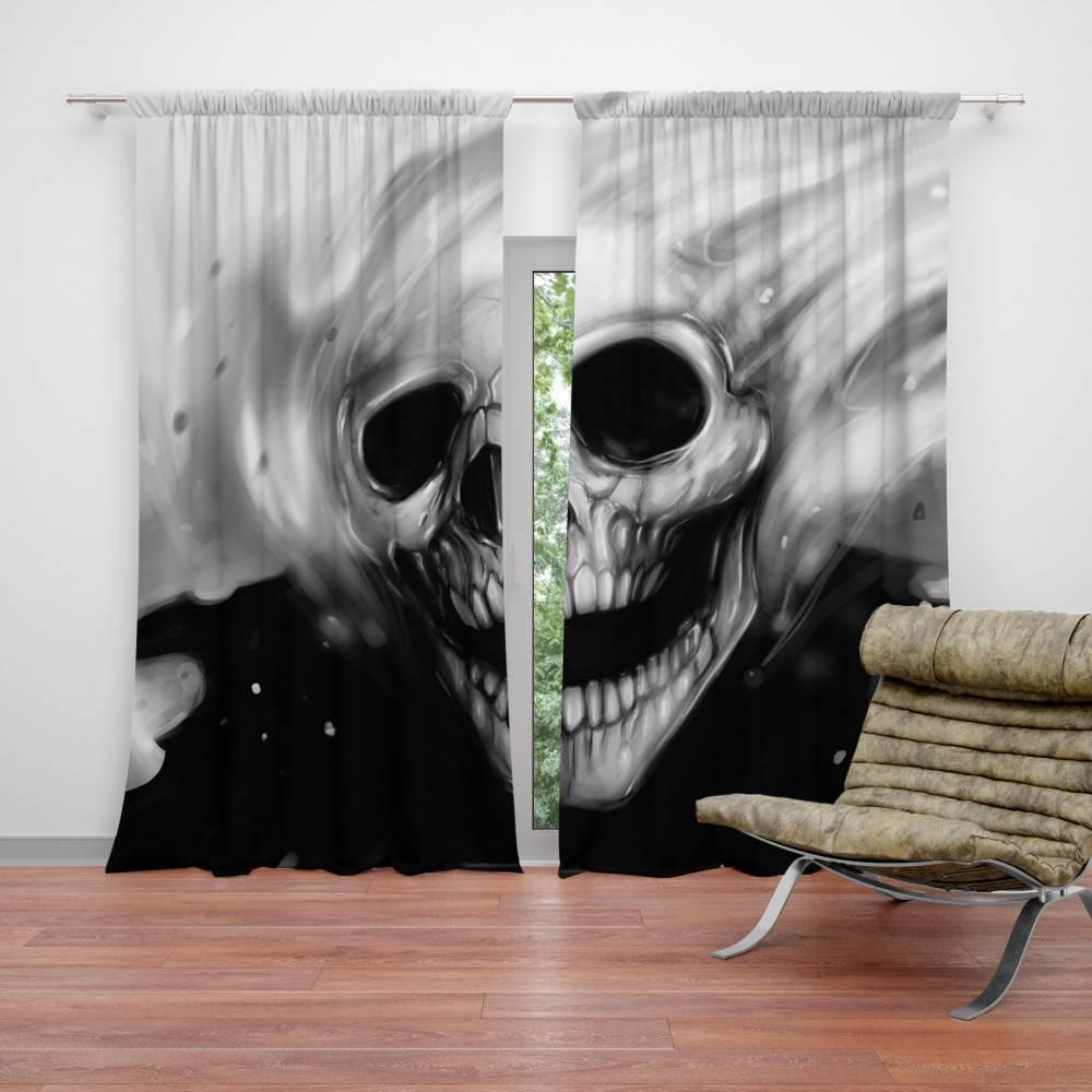 Rèm cửa có họa tiết hình hộp sọ