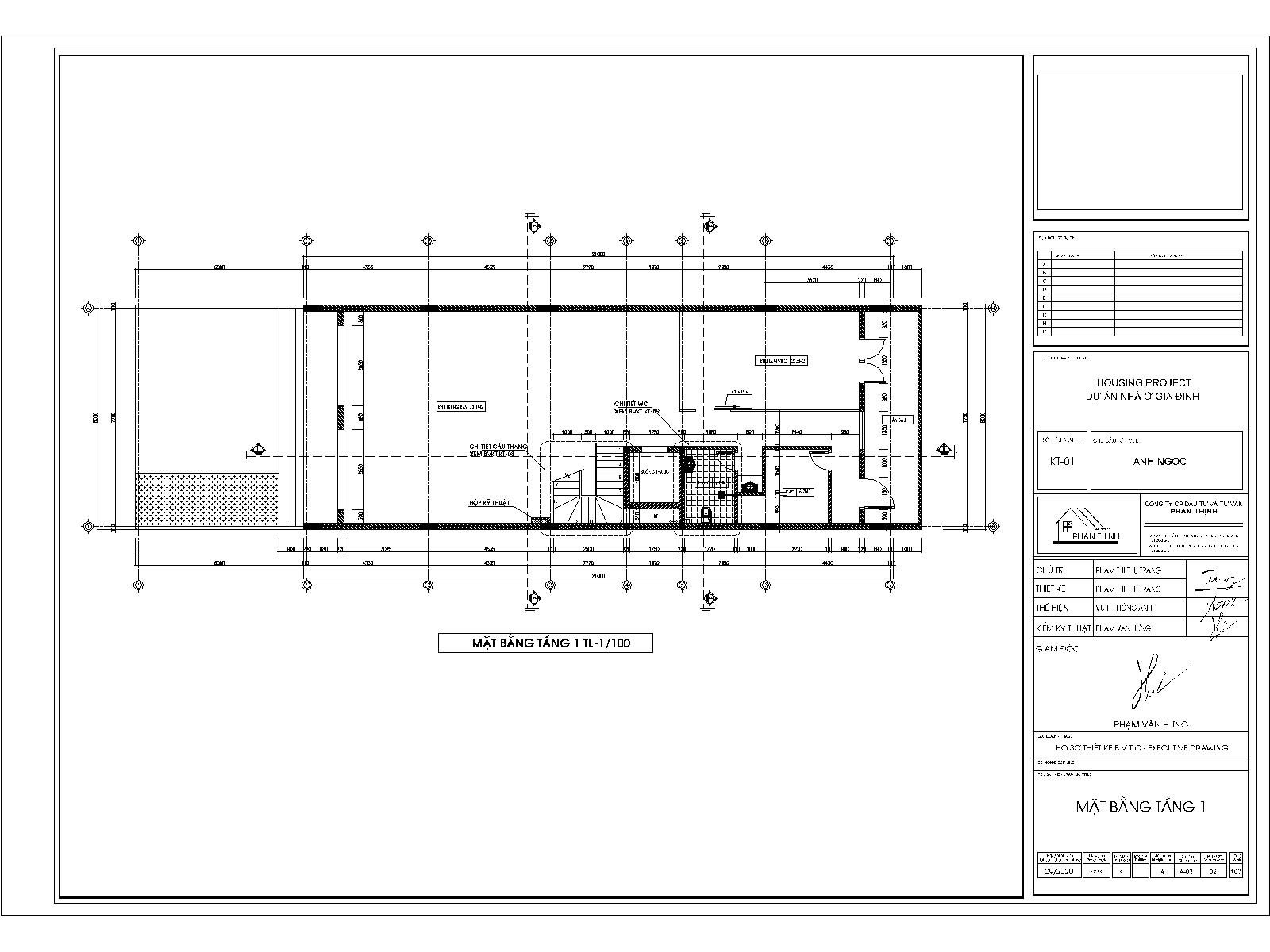 Mặt bằng tầng 1 - Bản vẽ thiết kế nhà 3 tầng