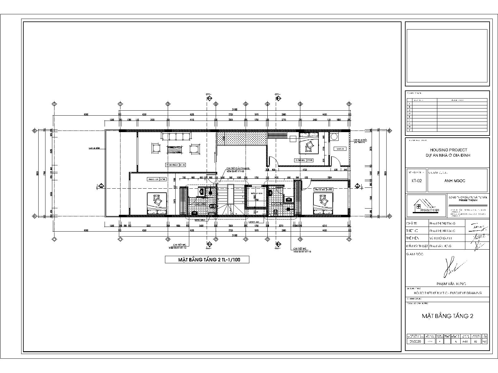 Mặt bằng tầng 2 - Thiết kế nhà ống đẹp 3 tầng