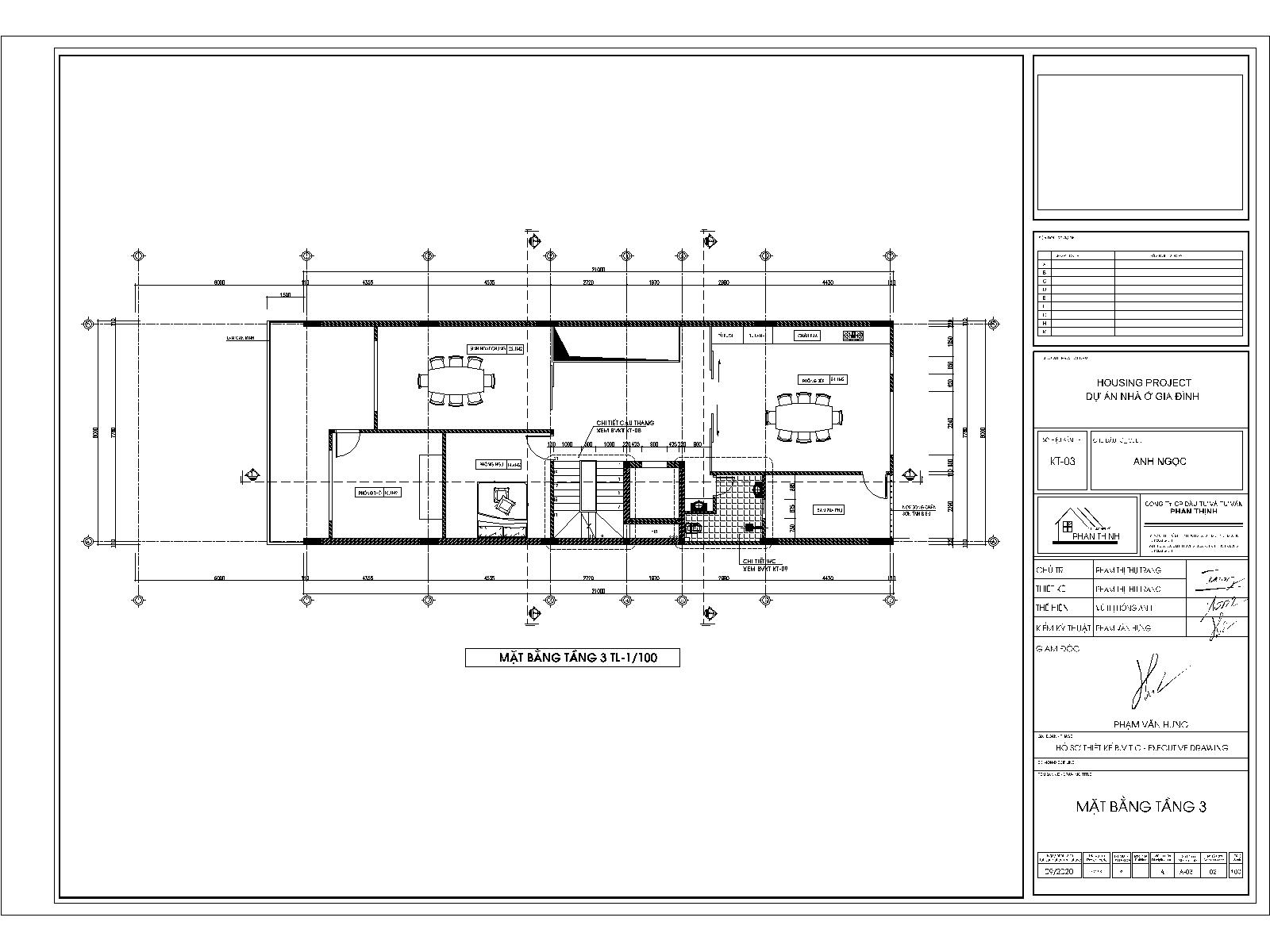Mặt bằng tầng 3 - Mẫu nhà ống 3 tầng đẹp