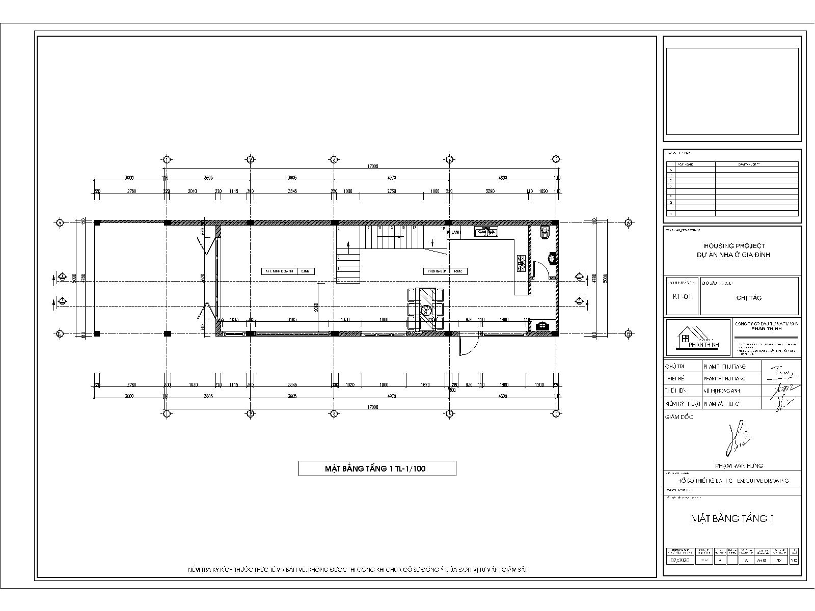 Mặt bằng tầng 1 - Mẫu nhà phố 3 tầng 2 mặt tiền