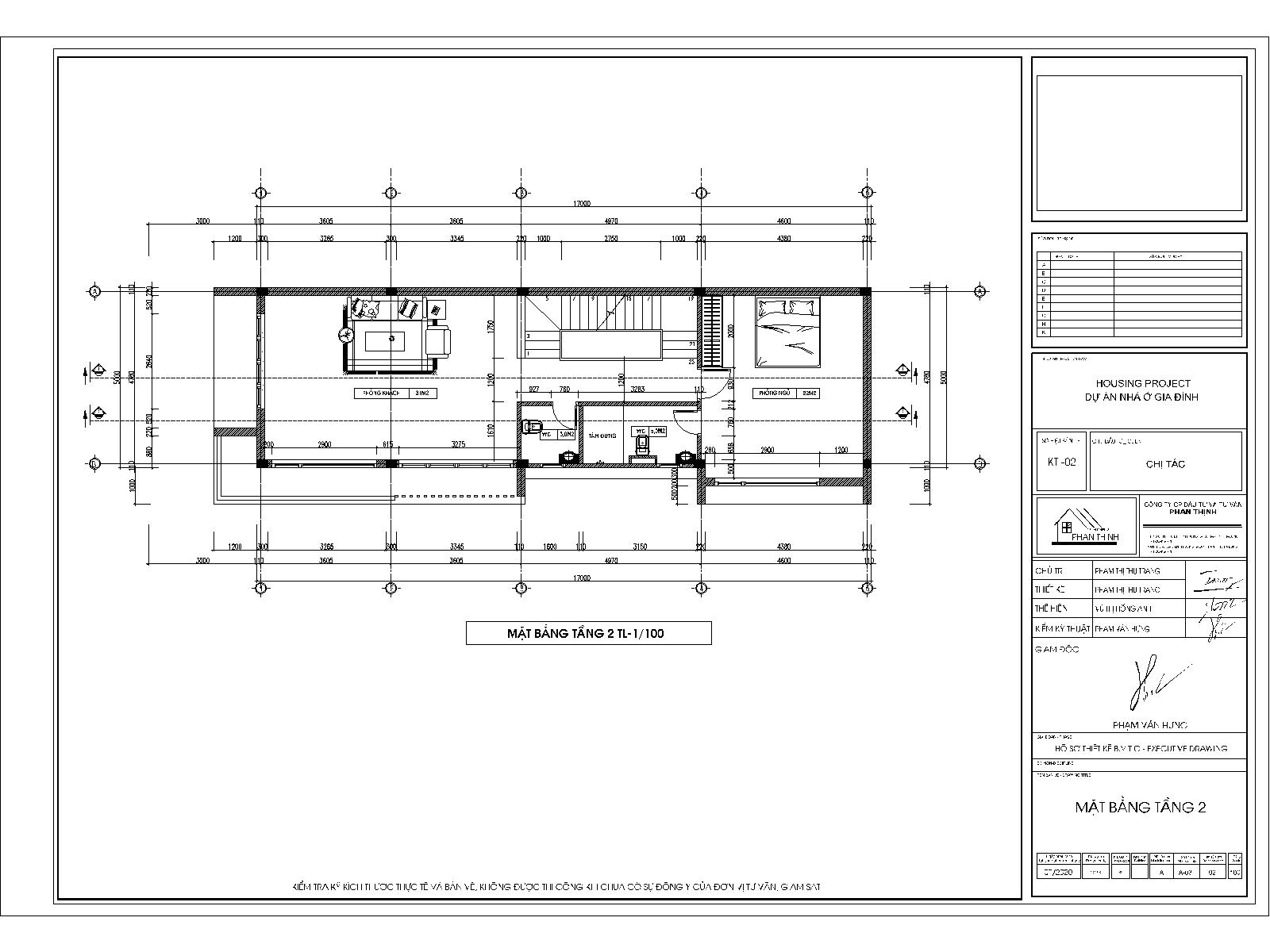 Mặt bằng tầng 2 - Kiến trúc mặt tiền nhà 3 tầng
