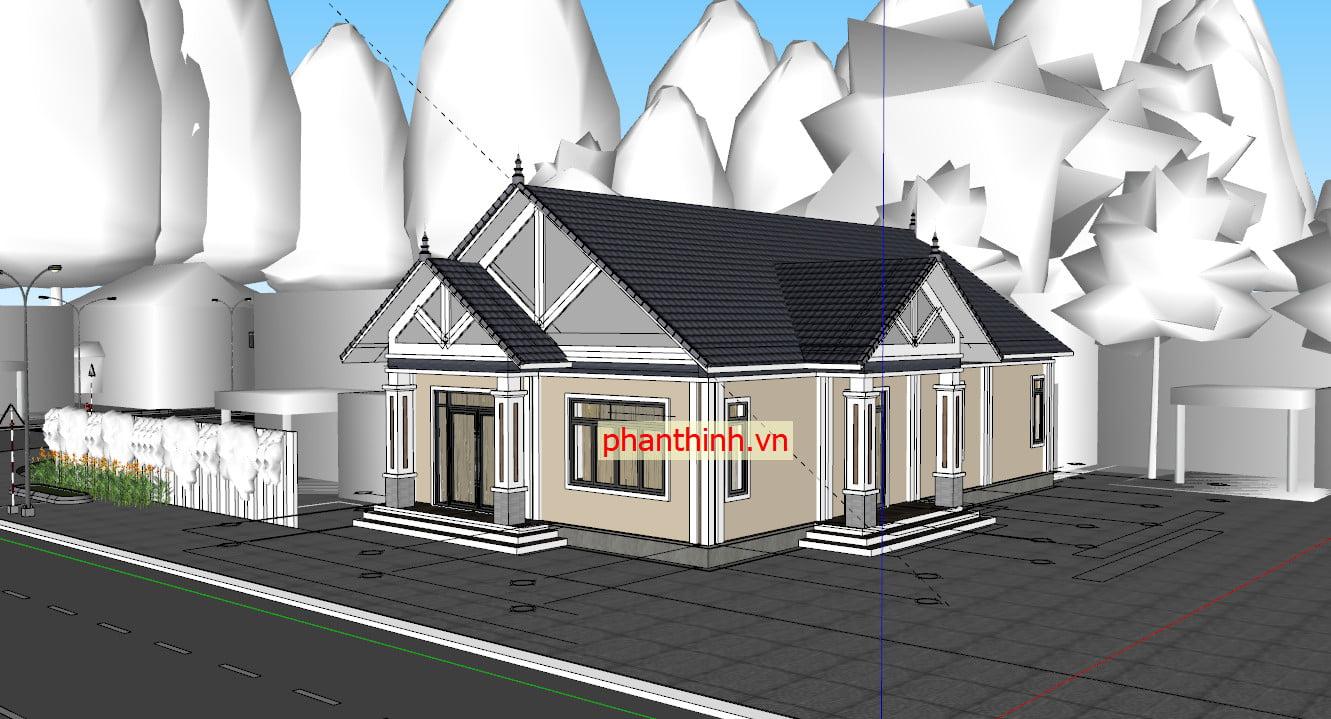 Bản vẽ 3D nhà cấp 4 file Sketchup