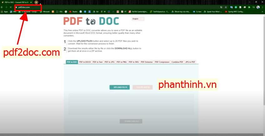 Chuyển đổi word sang pdf online pdf2doc.com