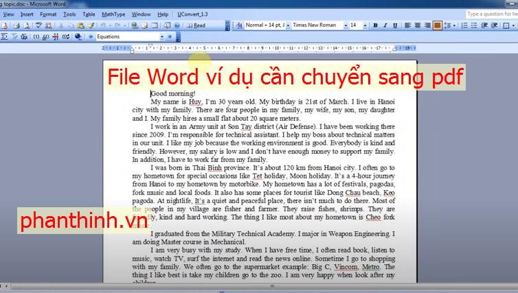 File word cần chuyển sang Pdf bằng Website Smallpdf.com