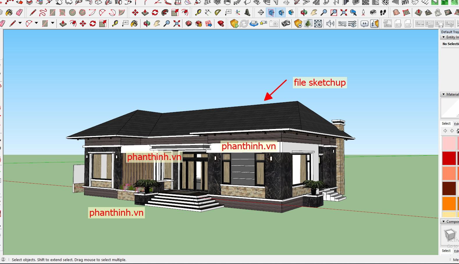 File 3D Sketchup bản vẽ thiết kế nhà đẹp cấp 4