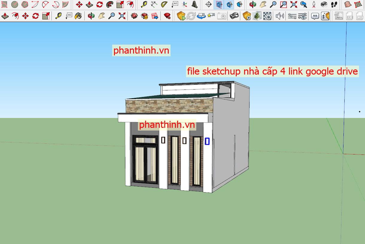 File sketchup bản vẽ nhà cấp 4 mái bằng