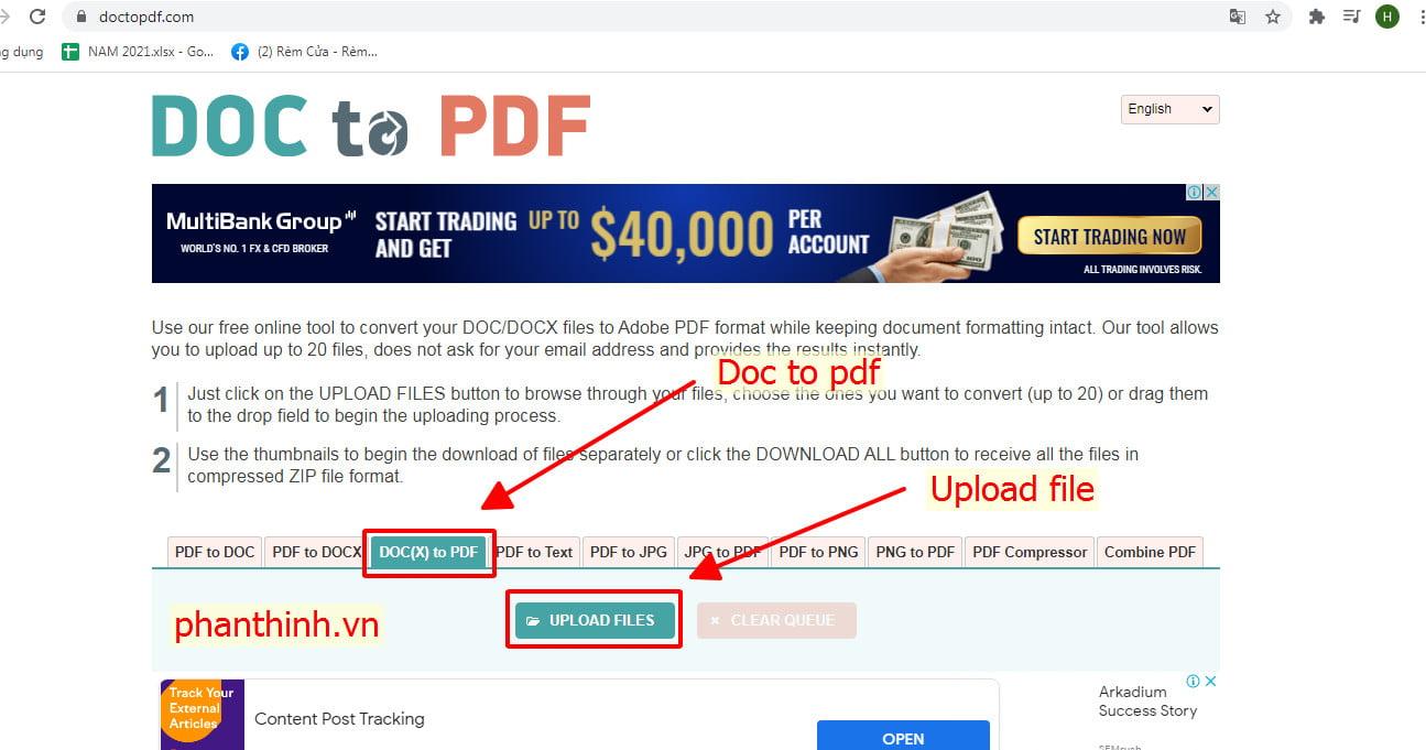 Upload file Word để tiến hành chuyển đổi sang pdf