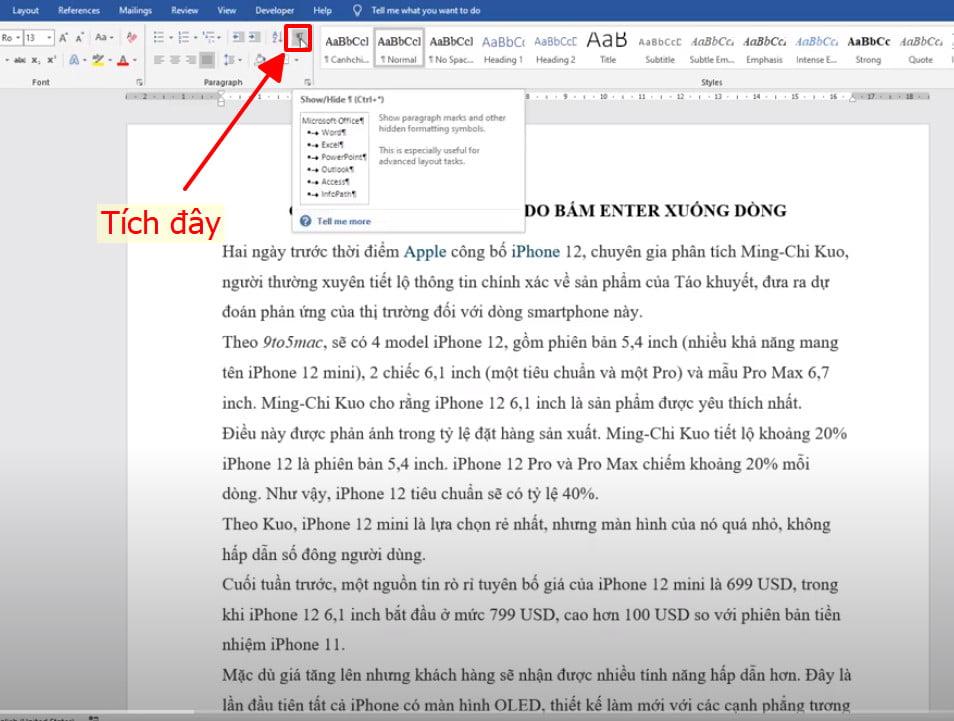 Xóa 1 trang trắng trong word