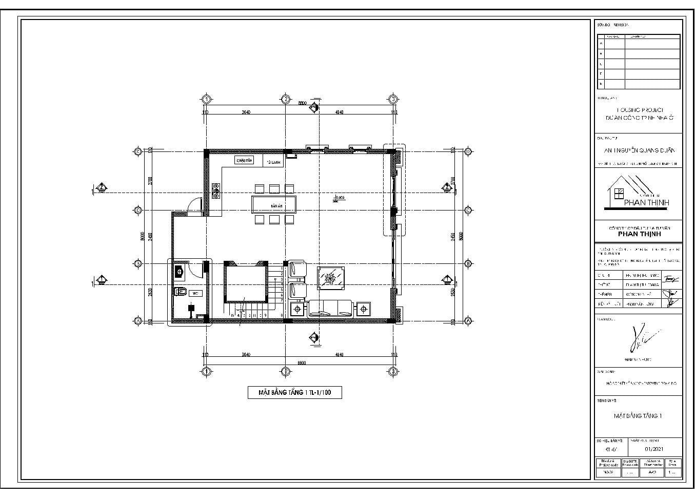 Mặt bằng tầng 1 mẫu nhà đẹp tân cổ điển