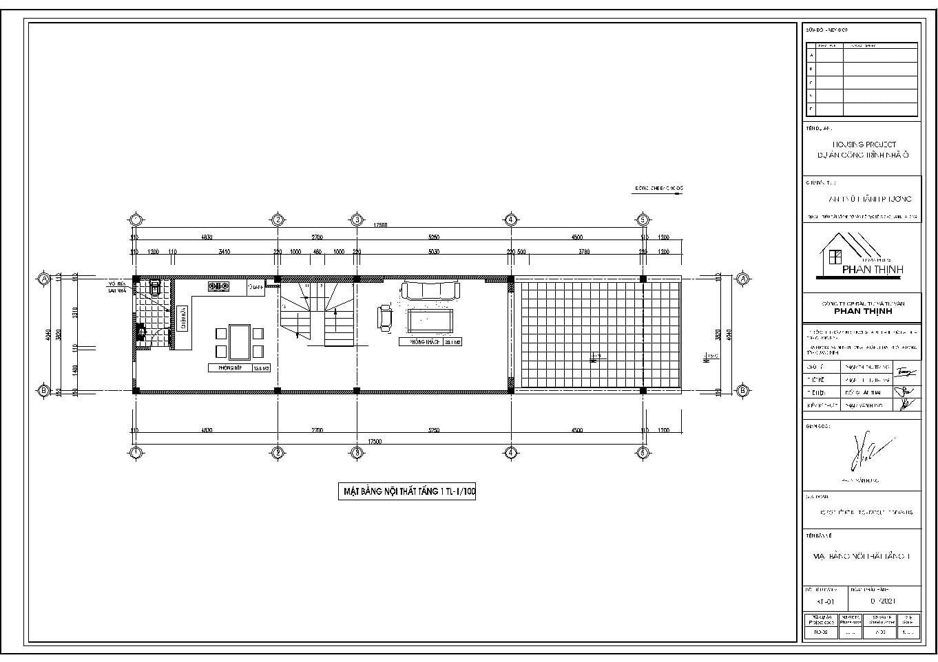 Mặt bằng tầng 1 ngôi nhà ống mặt tiền 4m