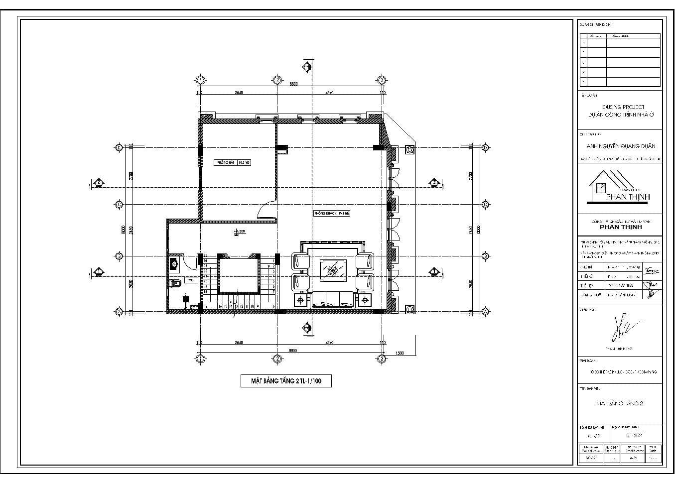Mặt bằng tầng 2 mẫu nhà thiết kế đẹp 5 tầng ở Quảng Ninh