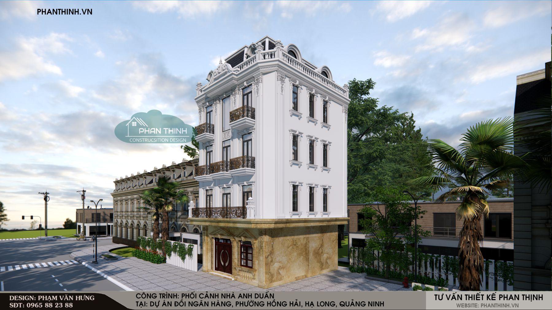 Phối cảnh thiết kế nhà tân cổ điển 5 tầng ở Quảng Ninh
