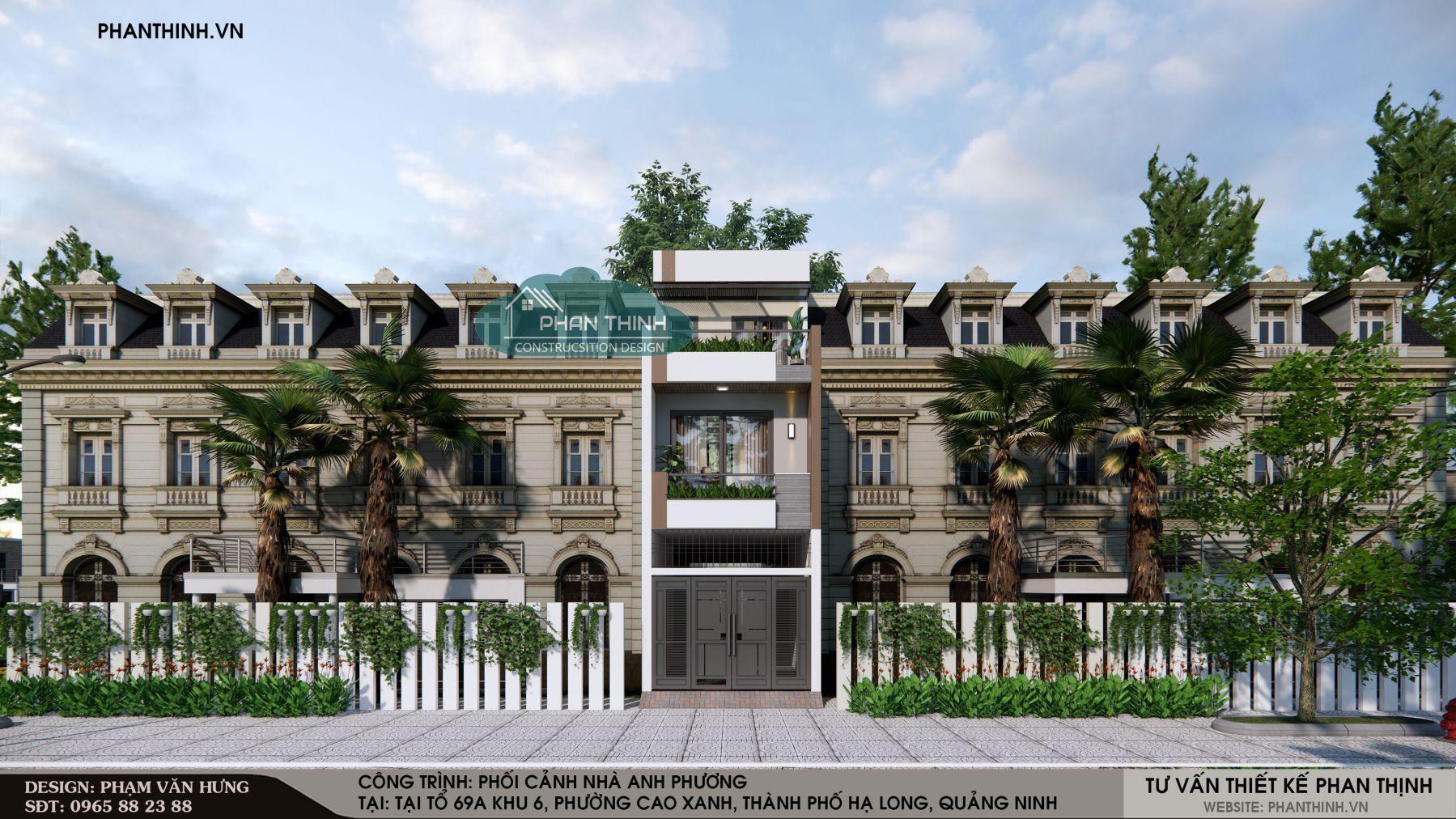 Thiết kế nhà phố đẹp 3 tầng ở Quảng Ninh