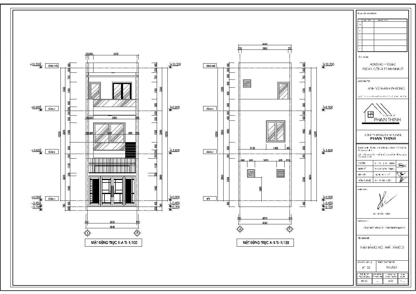 Mặt đứng nhà 2 tầng 1 tum đẹp Quảng Ninh