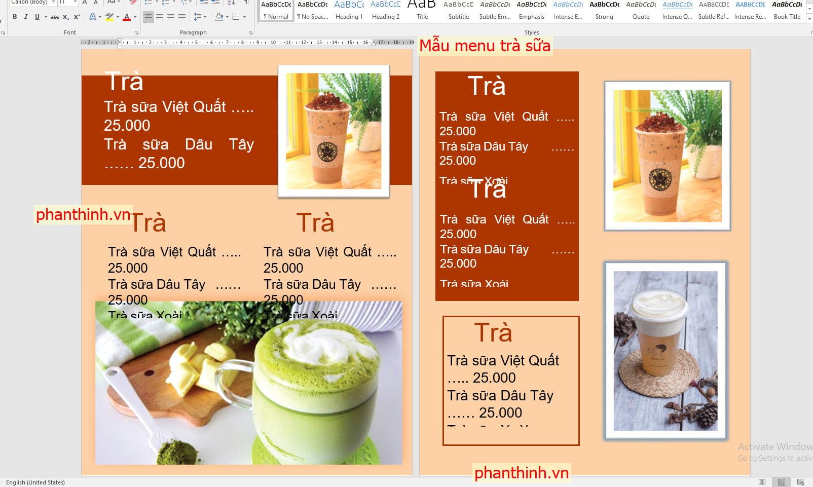 Các mẫu menu đơn giản quán trà sữa