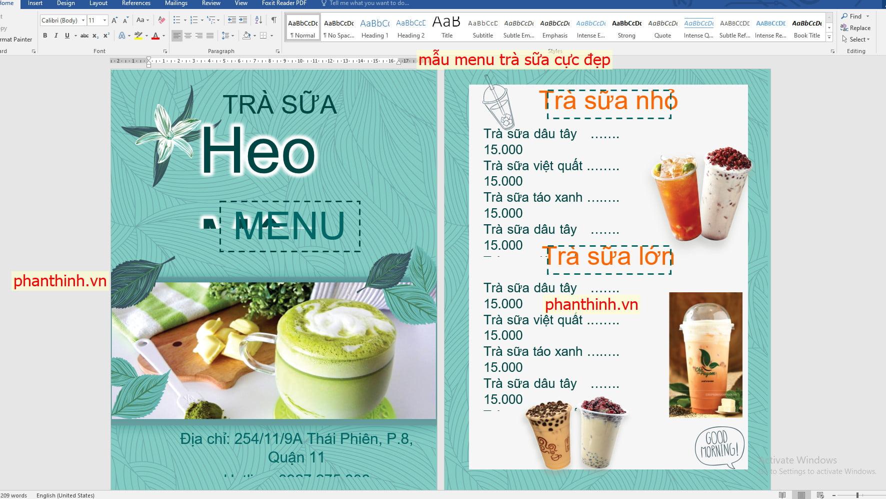 Download mẫu menu file word