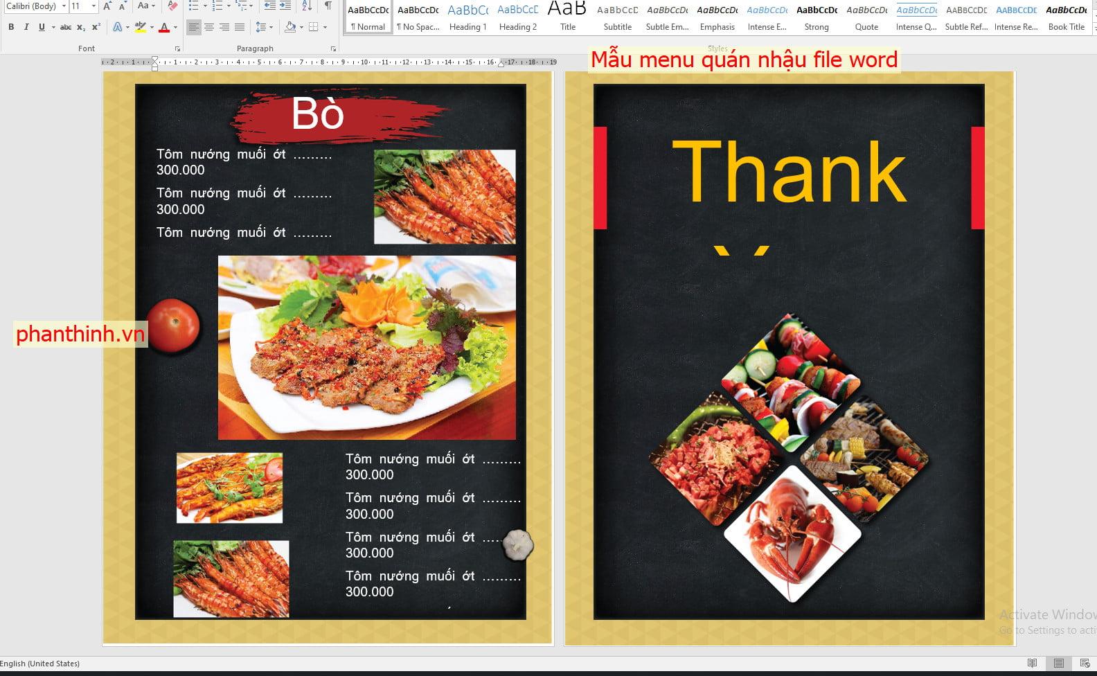 Download mẫu menu quán nhậu