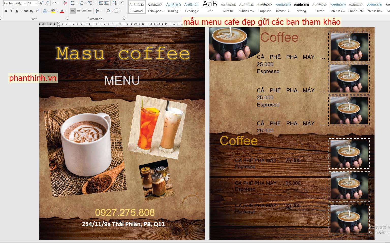 Mẫu menu cafe đẹp file word