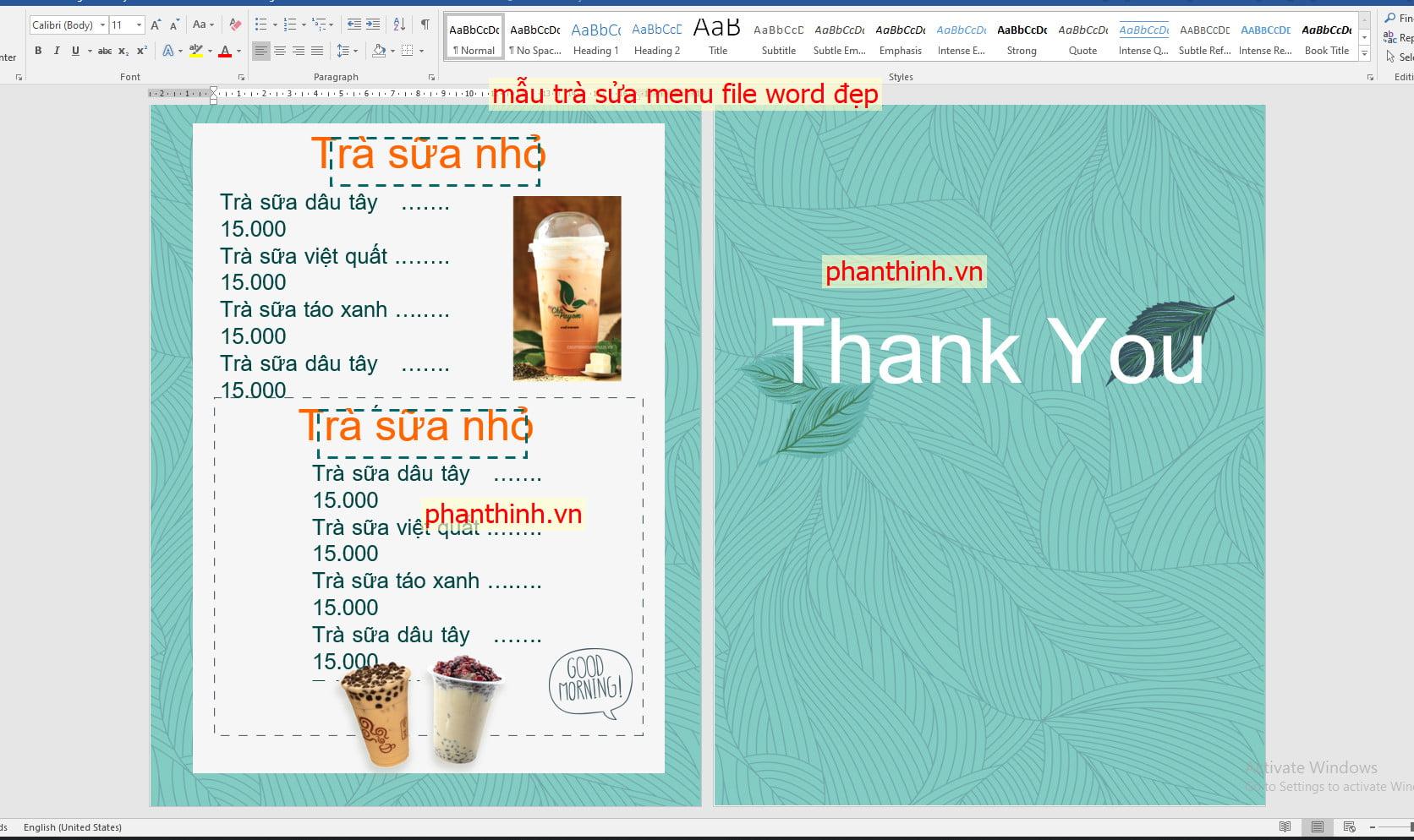 Mẫu menu đẹp file word miễn phí