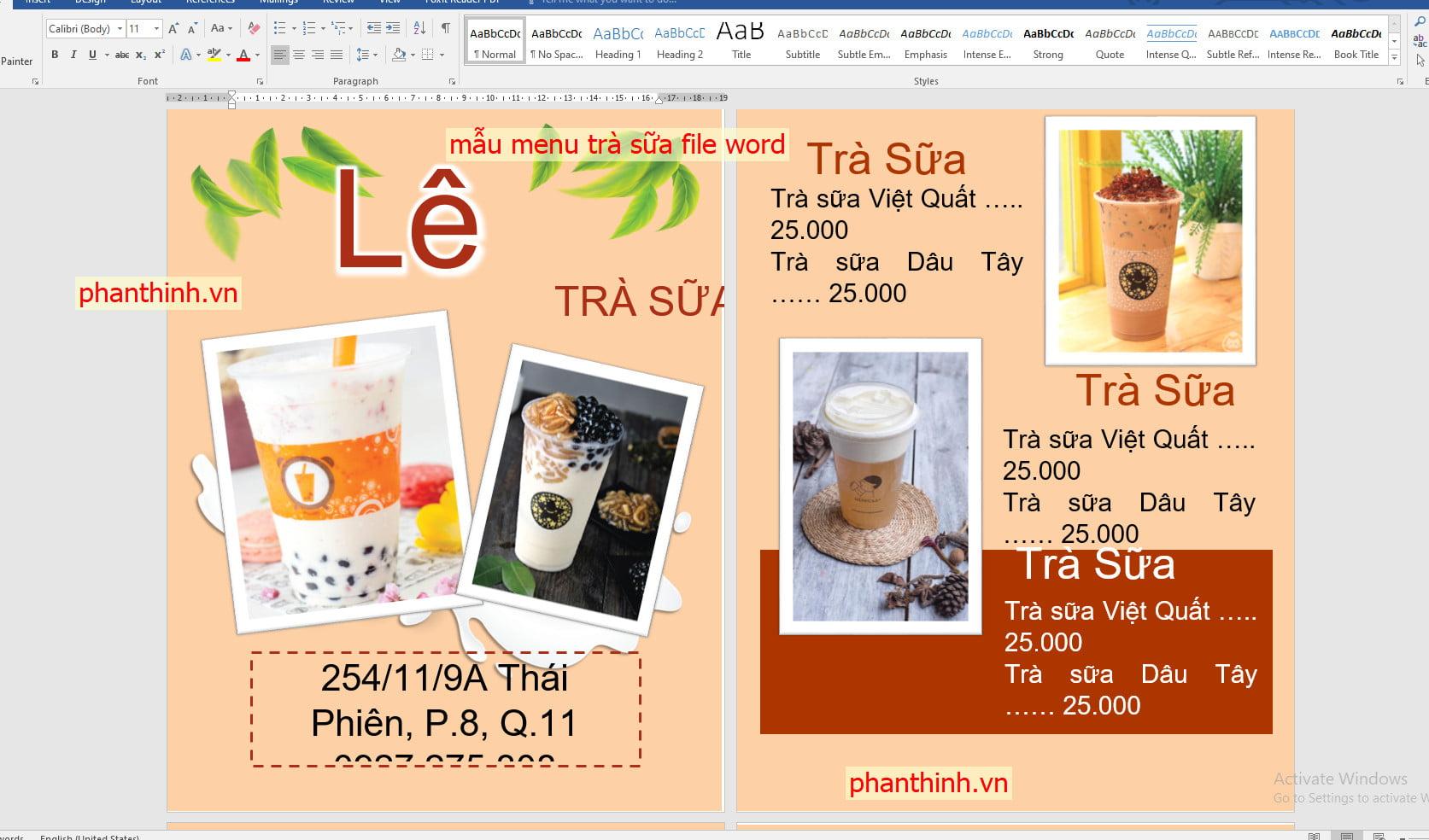 Mẫu menu trà sữa đẹp số 2