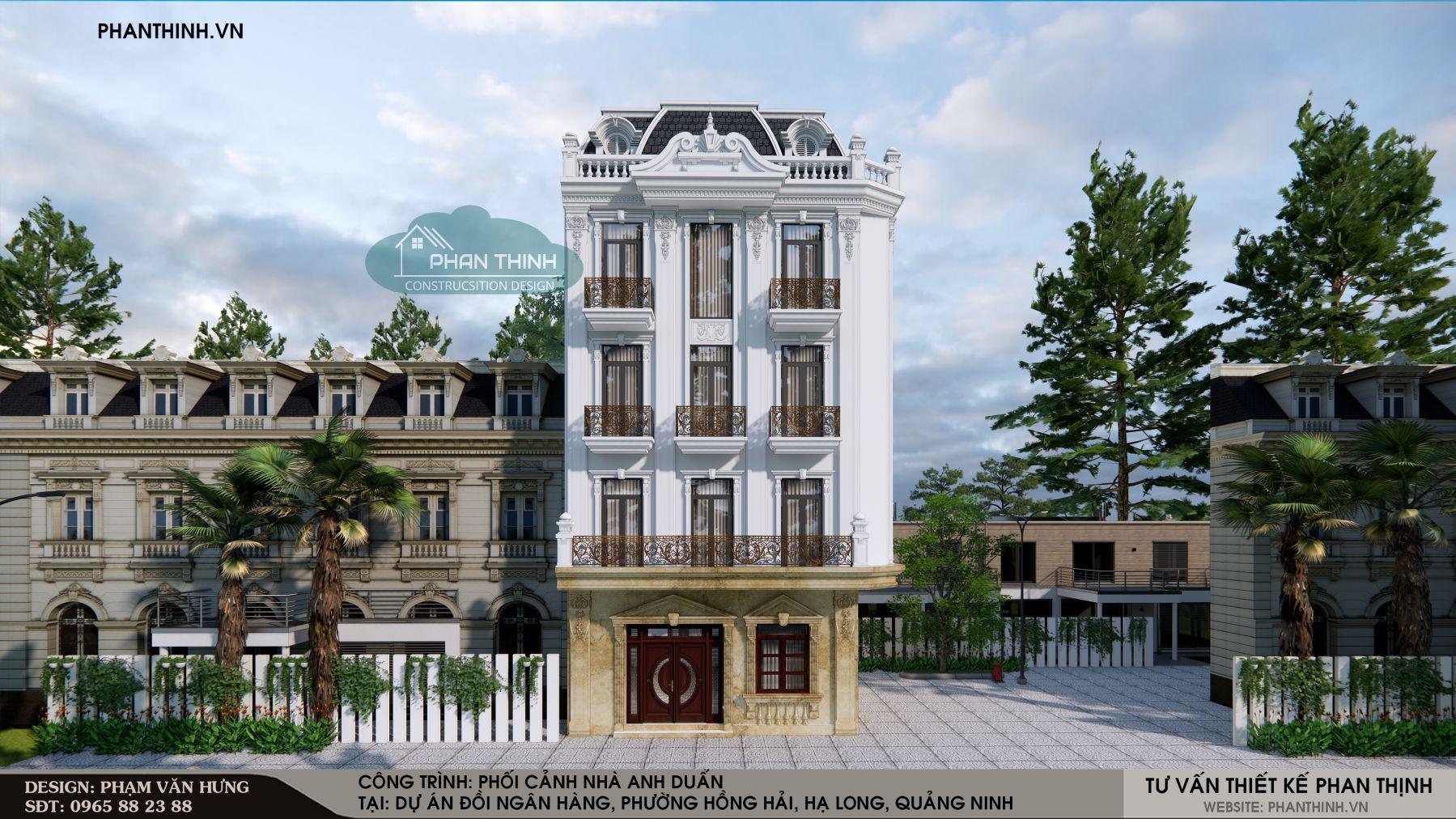 Phối cảnh nhà đẹp mặt phố mang phong cách tân cổ điển