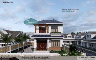 Thiết kế nhà mái thái đẹp tại Quảng Ninh, biệt thự 2 tầng mái thái 8,2x13m
