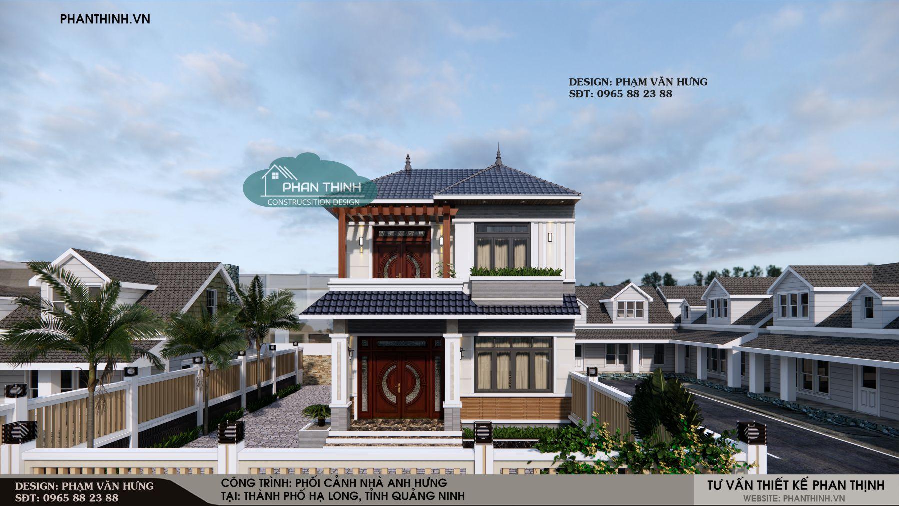 Mẫu biệt thự 2 tầng mái thái đẹp tại Quảng Ninh
