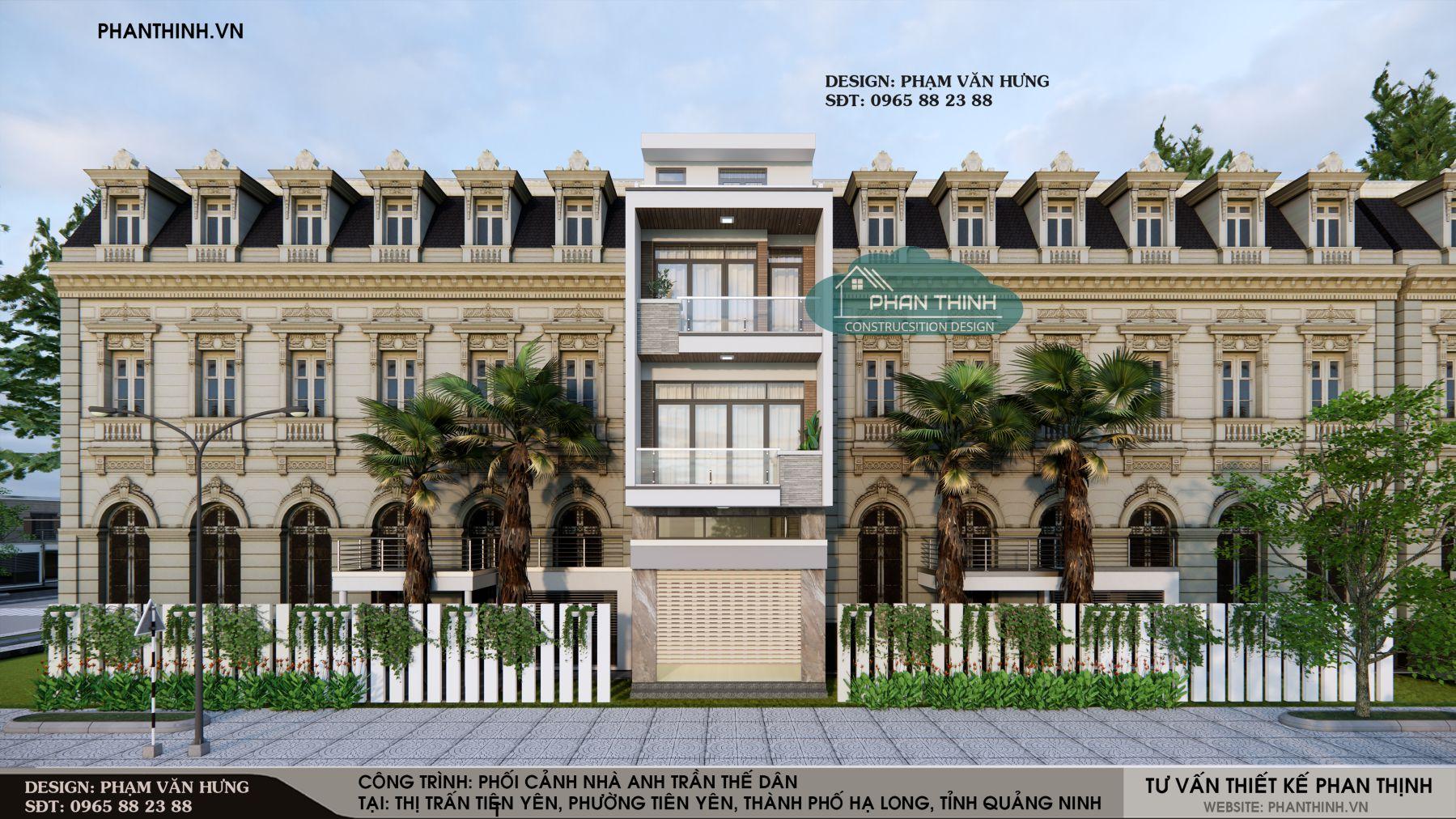 Mẫu phối cảnh nhà 3 tầng đẹp hiện đại ở Quảng Ninh