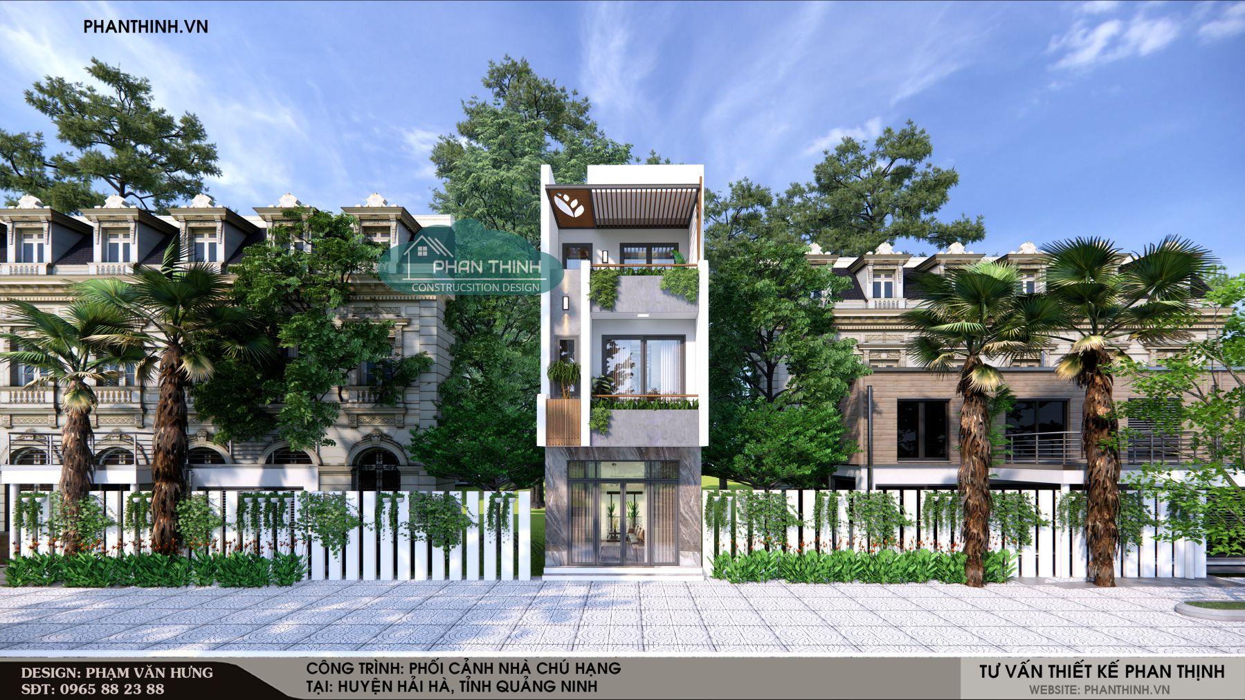 Phối cảnh nhà phố 3 tầng đẹp tại Quảng Ninh