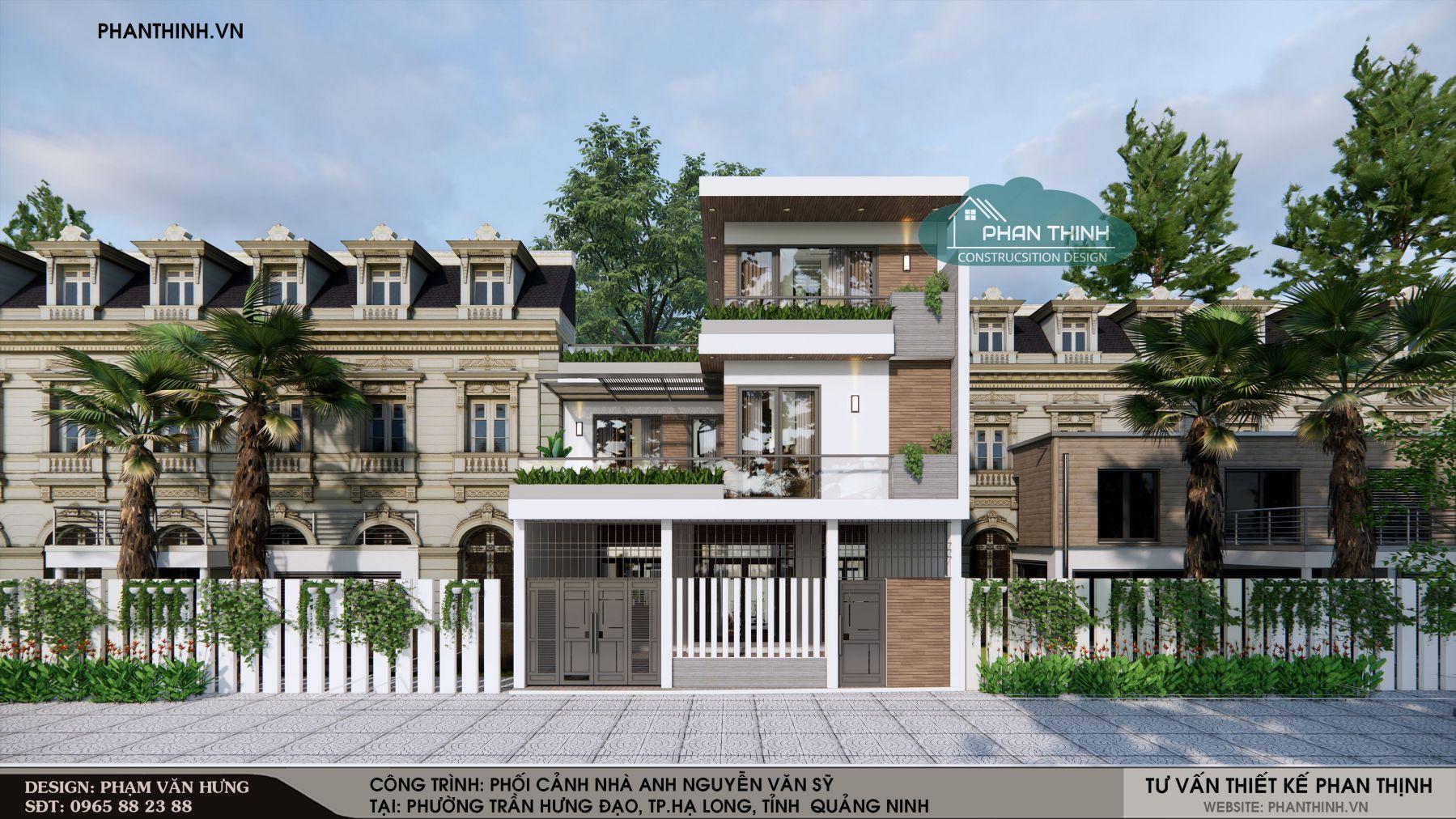 Phối cảnh mặt tiền của mẫu nhà phố 3 tầng đẹp, hiện đại