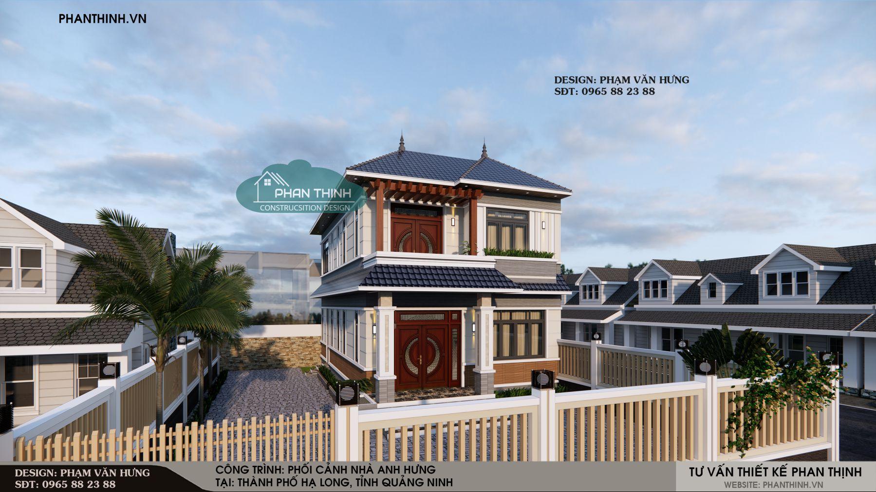 Thiết kế biệt thự 2 tầng mái thái đẹp ở Quảng Ninh