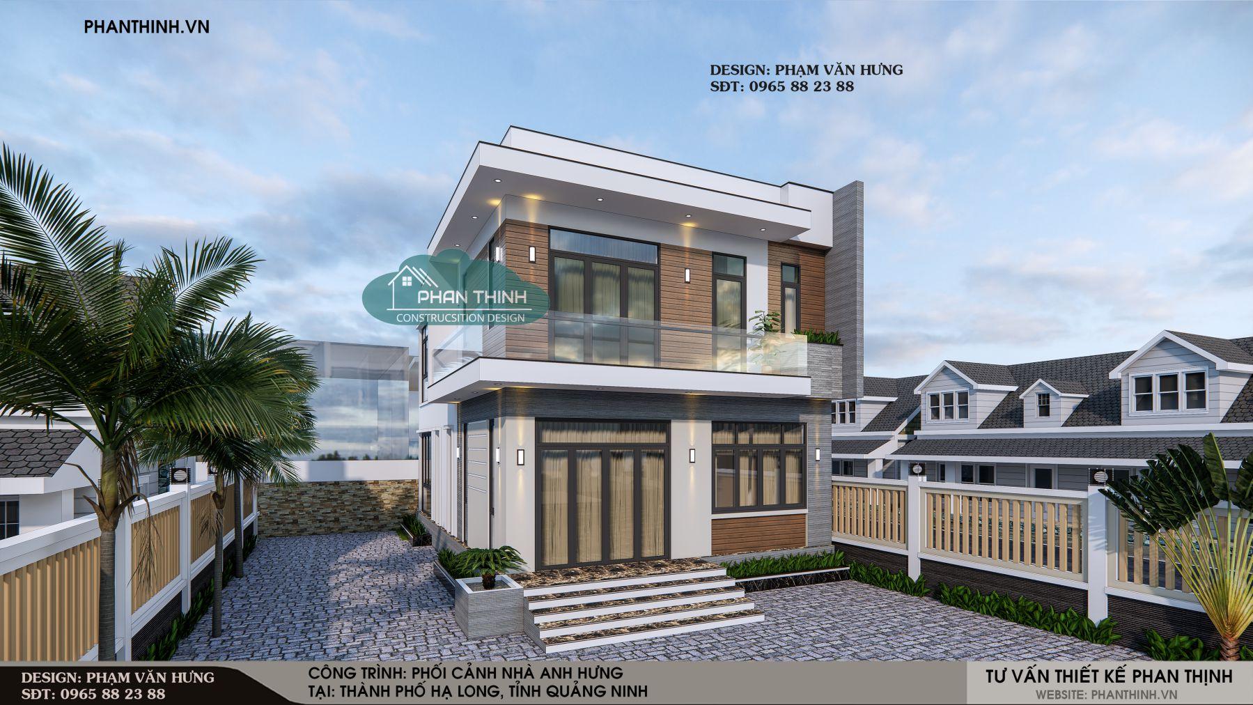 Mặt tiền nhà 2 tầng hiện đại ở Quảng Ninh