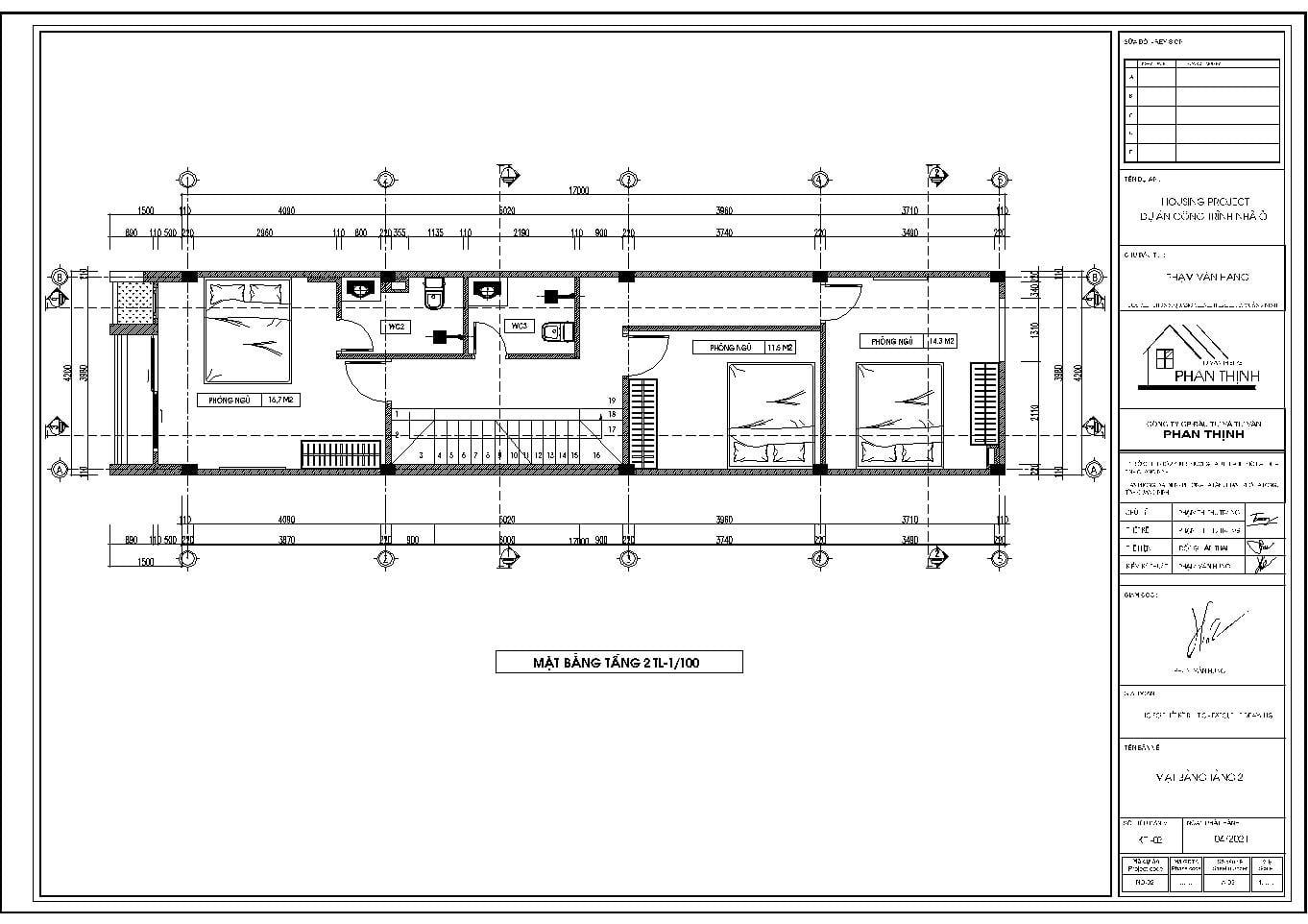 Mặt bằng tầng 2 bản vẽ cad nhà 3 tầng đơn giản