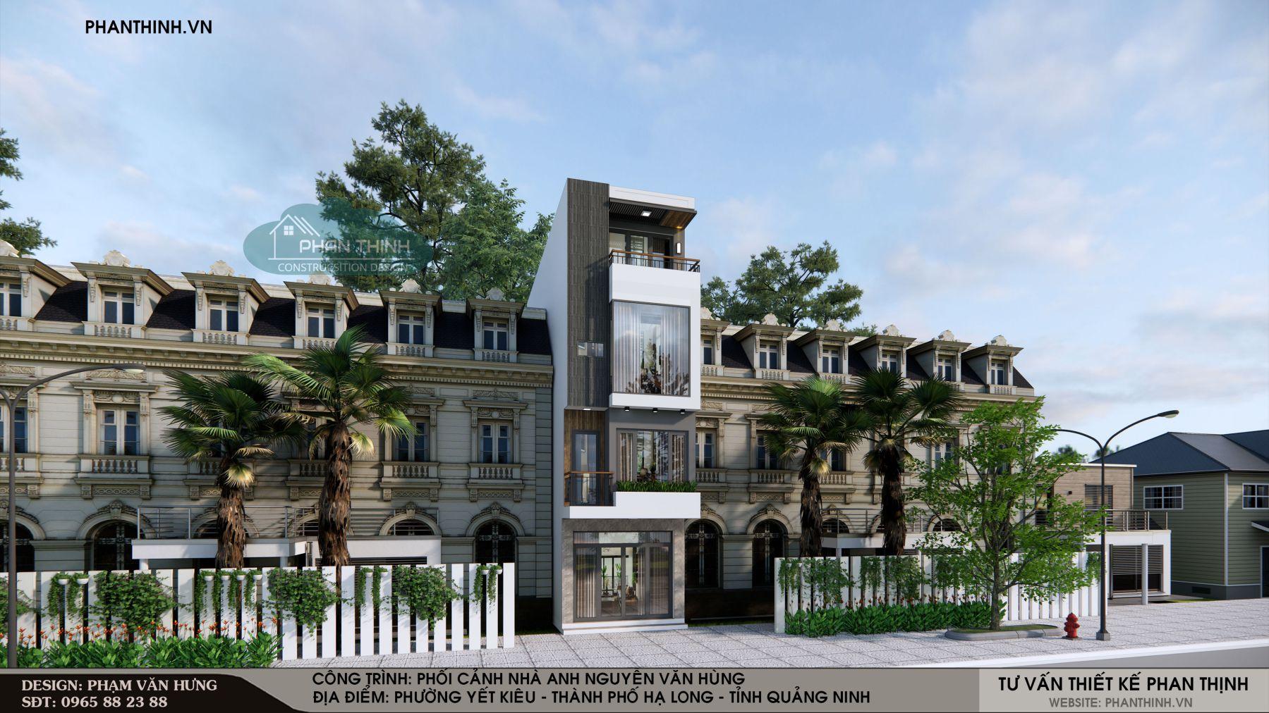 Phối cảnh mặt tiền mẫu nhà 4 tầng đẹp, hiện đại