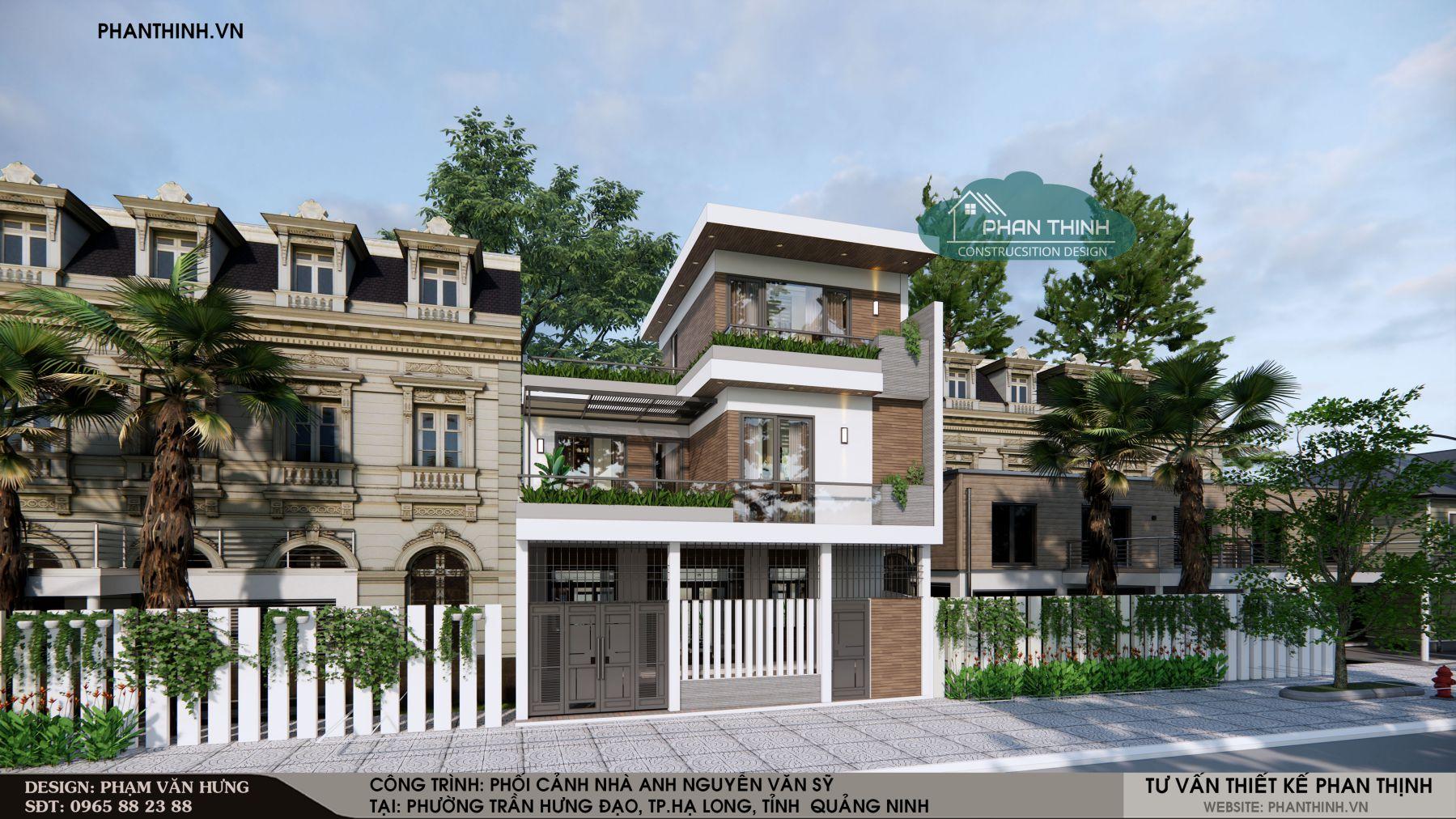 Phối cảnh 2 của ngôi nhà 3 tầng hiện đại
