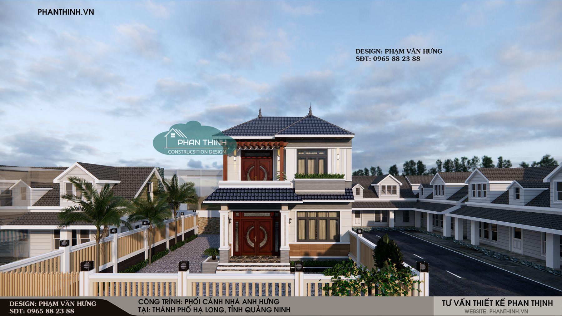Phối cảnh thiết kế biệt thự mini 2 tầng mái thái đẹp tại Quảng Ninh