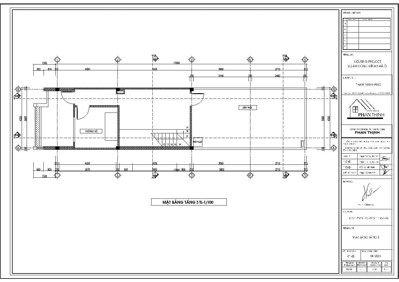 Mặt bằng tầng 3 bản vẽ kiến trúc nhà phố 3 tầng